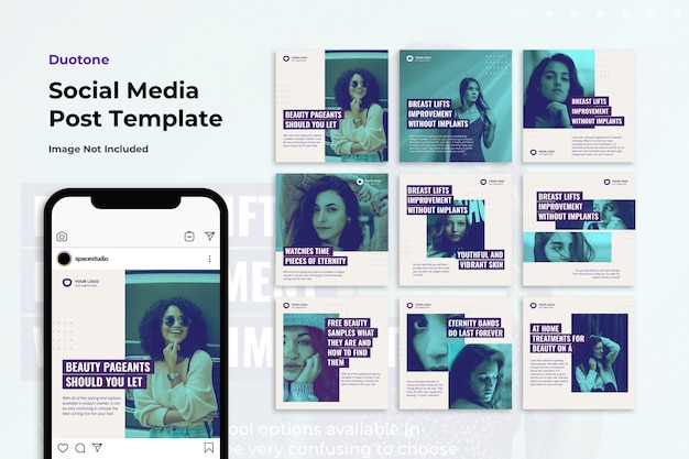 Modelos de instagram duotone social media banner