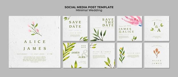 Modelos de mídia social de casamento criativo