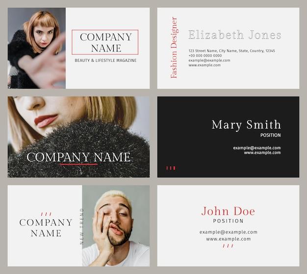 Modelos de moda profissional para cartões de visita psd