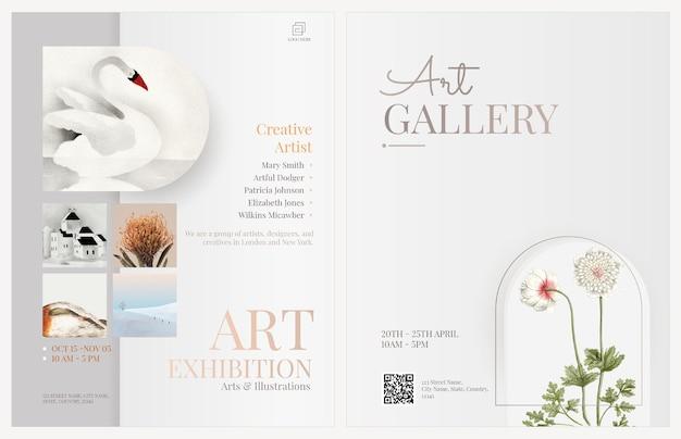 Modelos de panfletos de exposição de arte design editável psd em tema simples