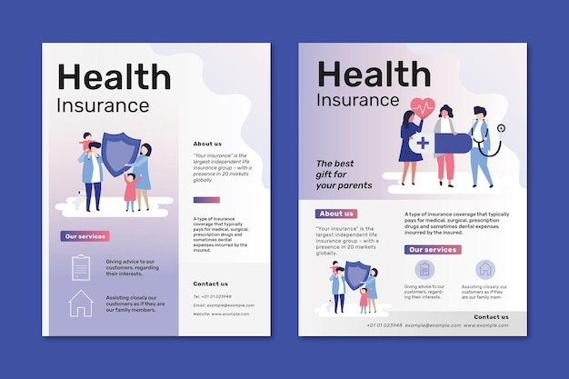 Modelos de panfletos psd para seguro saúde