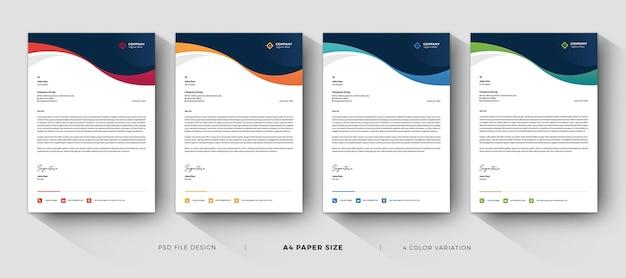 Modelos de papel timbrado corporativo design profissional com variação de cores