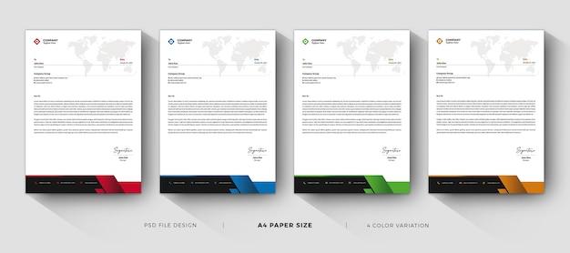 Modelos de papel timbrado profissional e design moderno com variação de cores