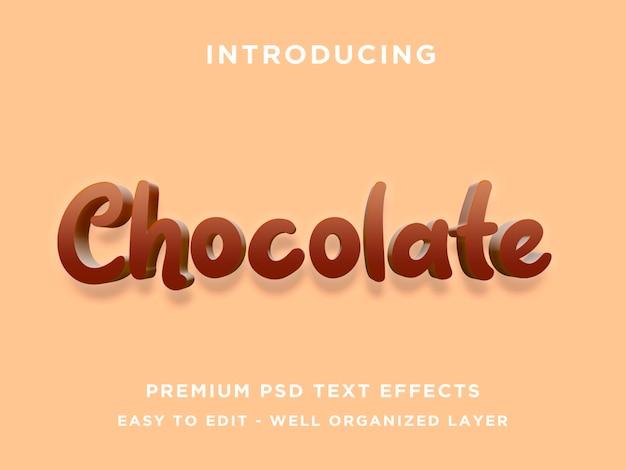 Modelos de photoshop de efeito de texto de chocolate 3d