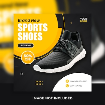 Modelos de postagem de banner de mídia social quadrada de sapatos da moda masculina
