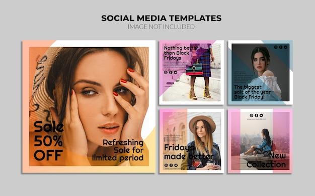 Modelos de postagem de banner de venda em mídia social