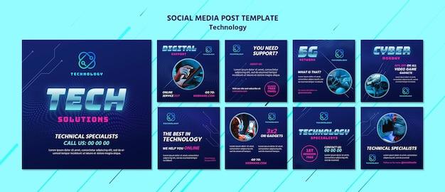 Modelos de postagem de instagram de tecnologia com foto Psd Premium