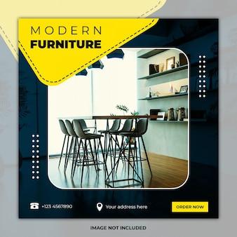 Modelos de postagem de mídia social de design de interiores