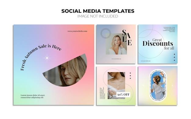 Modelos de postagem de mídia social de gradiente do instagram