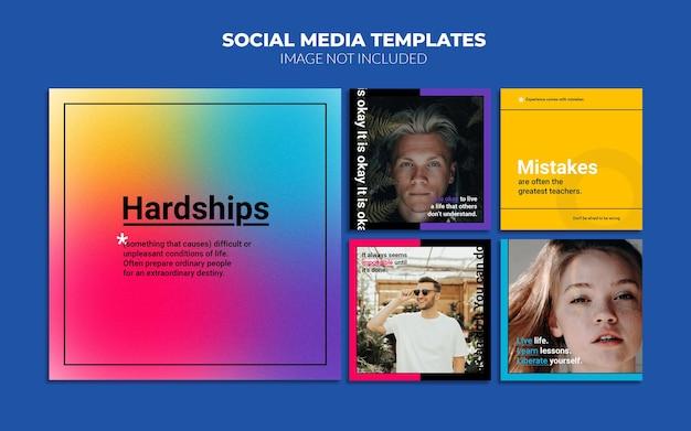 Modelos de postagem de mídia social gradiente do instagram