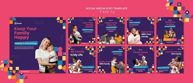 Modelos de postagem de mídia social inspirados na família