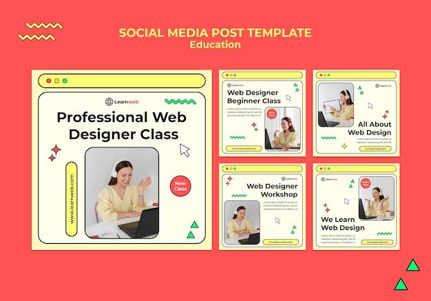 Modelos de postagem de mídia social para workshop de web design
