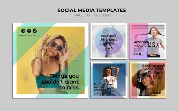 Modelos de postagem do instagram de mídia social gradiente