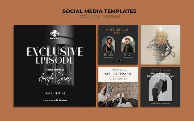 Modelos de postagem do instagram para mídias sociais de podcast