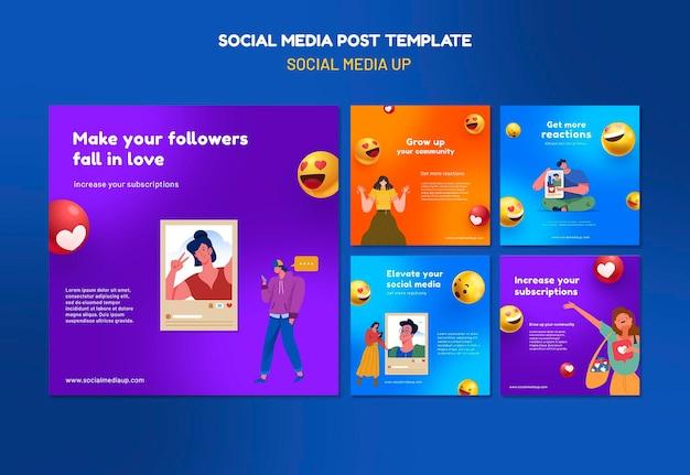 Modelos de postagens de instagram em redes sociais