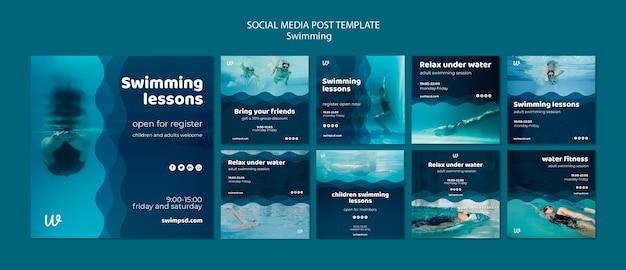 Modelos de postagens de mídias sociais de aulas de natação