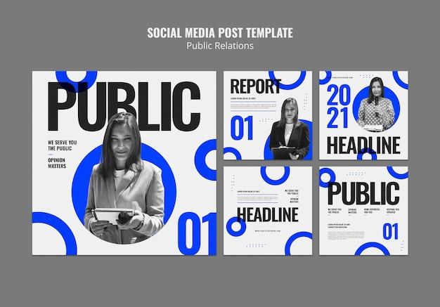 Modelos de postagens do instagram de relações públicas