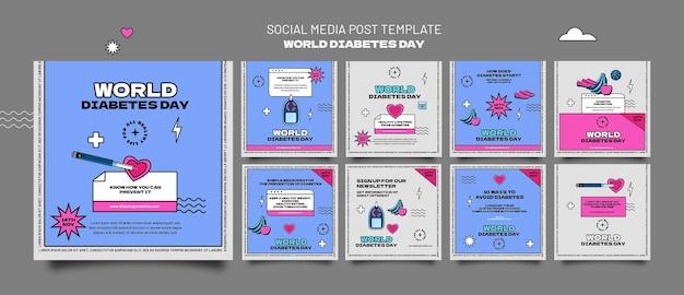 Modelos de postagens ig para o dia mundial do dia da diabetes criativo