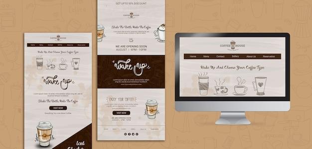 Modelos de web café com elementos de mão desenhada
