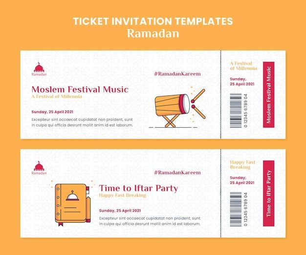 Modelos ilustrados de convite para ingressos do ramadã kareem