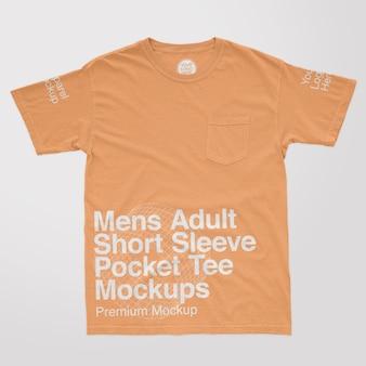 Modelos masculinos de manga curta para adultos com camiseta de bolso