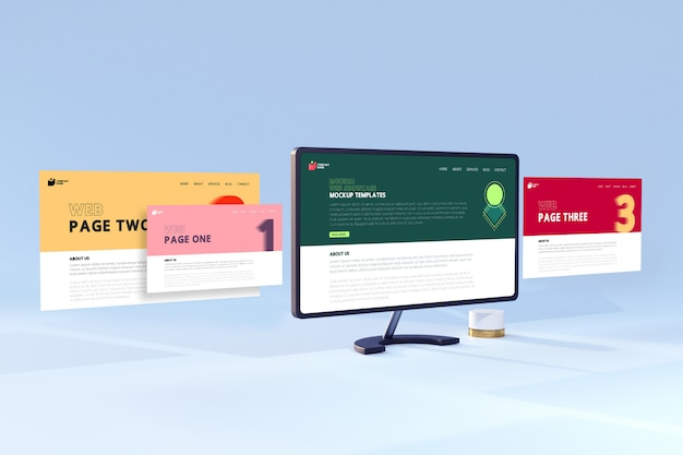 Modelos modernos de maquete da tela do computador desktop da vitrine da web em 3d