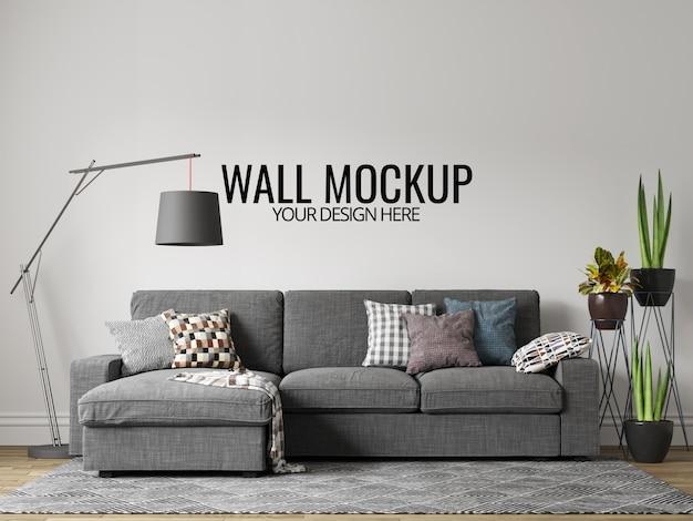 Modern interior sala parede fundo mockup com móveis e decoração