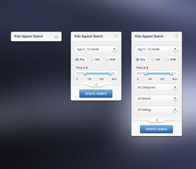 Moderna interface de busca vestuário