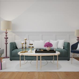 Moderna sala de estar com almofadas de sofá e maquete