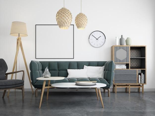 Moderna sala de estar com maquete de sofá e moldura