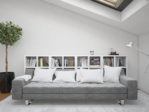 Moderna sala de estar com quadros de sofá e almofadas