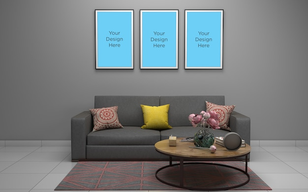 Moderna sala de estar com sofá e molduras