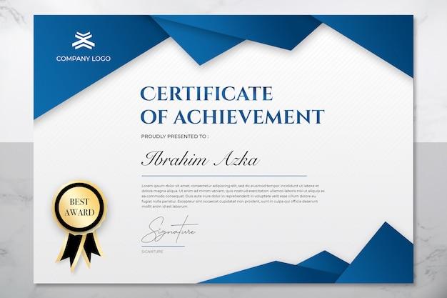 Moderno certificado azul e ouro de modelo de conquista