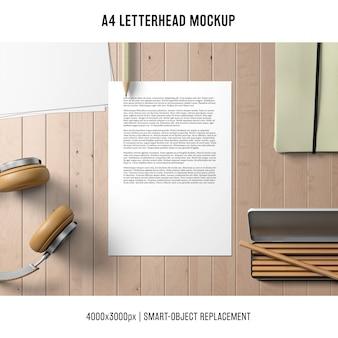 Moderno maquete de papel timbrado a4