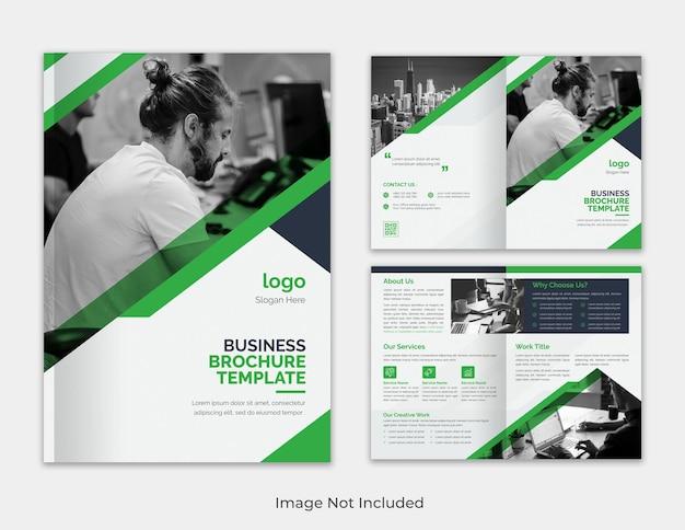 Moderno modelo corporativo multifuncional verde e preto minimalista modelo de folheto com duas dobras