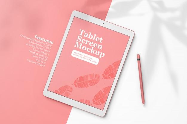 Moderno tablet pad pro 12,9 polegadas design de maquete de tela com lápis digital