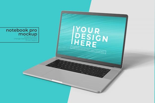 Modificável, de alta qualidade, fácil 15 polegadas notebook pro para web, interface do usuário e aplicativos photoshop mockup s na frente, vista direita