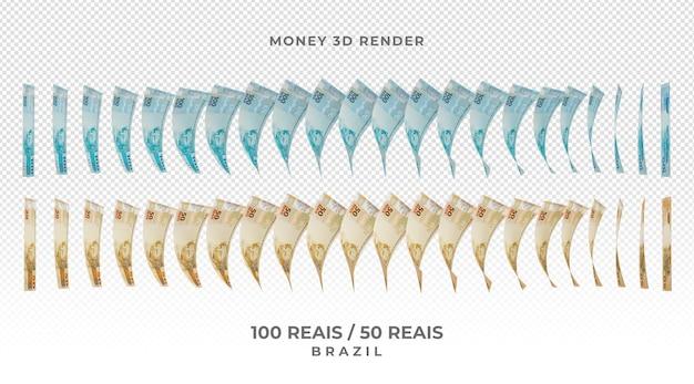 Moeda brasileira cédula de 100 e 50 reais 3d render
