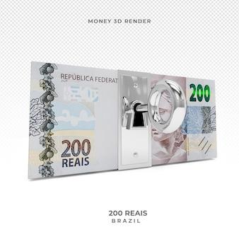 Moeda brasileira cédula de 200 reais com bloqueio 3d render