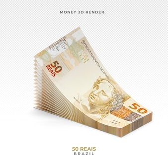 Moeda brasileira cédula de 50 reais 3d render