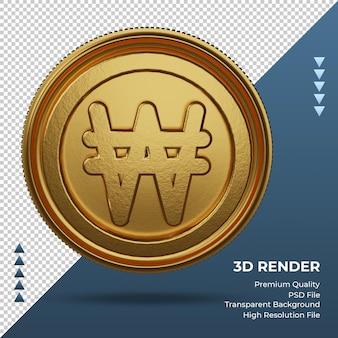 Moeda coreana won símbolo da moeda ouro renderização 3d frente