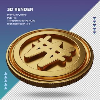 Moeda coreana won símbolo de moeda ouro renderização em 3d vista direita