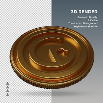 Moeda cruzeiro brasil símbolo da moeda ouro renderização em 3d vista esquerda