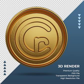 Moeda cruzeiro brasil símbolo de moeda ouro renderização 3d frente