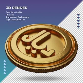 Moeda da arábia saudita riyal símbolo de moeda ouro renderização em 3d vista direita