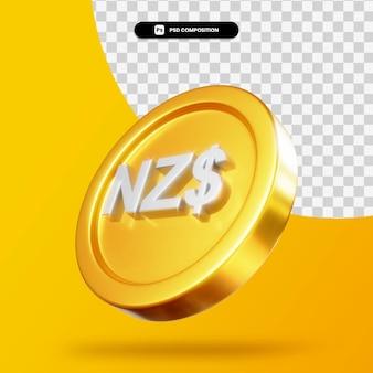 Moeda de dólar dourado da nova zelândia em 3d isolada