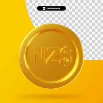 Moeda de dólar dourado da nova zelândia em 3d renderização isolada