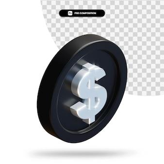 Moeda de dólar preto em 3d renderização isolada