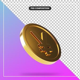 Moeda de iene dourada realista em 3d render isolada