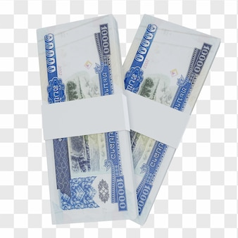 Moeda de laos kip 10.000: pilha de notas lak laos